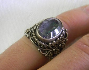 Sterling Silver 925 Purple faucet Detailed Band Ring Size 6 1/2 #5765