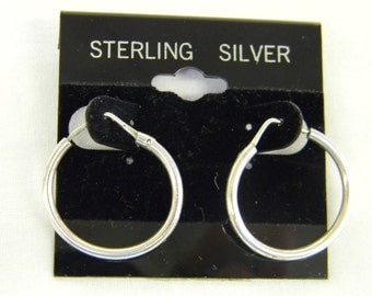 "925 Sterling Silver Adorable Oval Modern Earrings 1"" Long #5773"