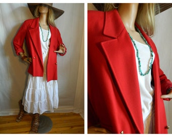 50% off Vintage Red Wool Over Sized Boyfriend Blazer jacket  L-XL