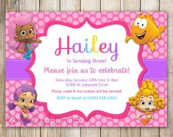 Bubble Guppies Birthday Invitation, Bubble Guppies Invite, Chevron, 1st birthday, First, 2nd birthday, 3rd birthday, 4th, 5th, PRINTABLE