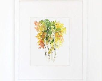 Birch in Autumn- Watercolor Art Print