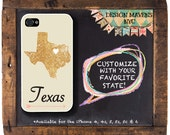 Texas iPhone Case, Personalized State Love iPhone Case, Fits iPhone 4,  iPhone 5, iPhone 5s, iPhone 5c, iPhone 6, NOT REAL GLITTER