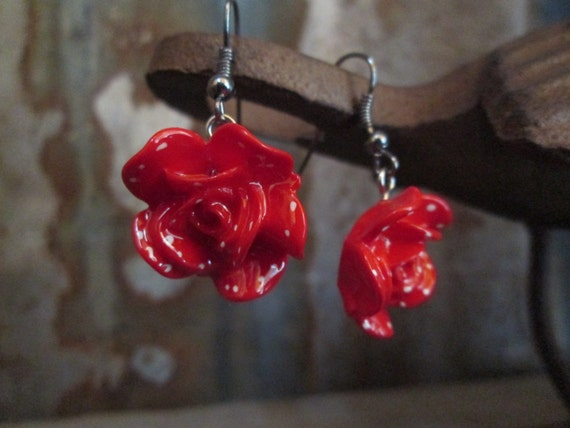 Rose Earrings, Red Earrings, Polka Dot Earrings
