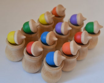 Rainbow Acorns Memory Matching Color Matching Sorting Waldorf and Montessori Inspired Wooden Toy