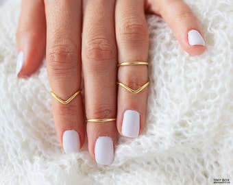 4 Gold Knuckle Ring Set, Above the Knuckle Rings, Stacking Midi Ring, Rings, Mid Knuckle Ring, Gold Ring, Gold Stacking Rings, Simple Rings