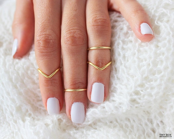 4 Gold Knuckle Ring Set the Knuckle Rings Stacking