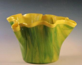 Lemon Lime Glass Drape Vase
