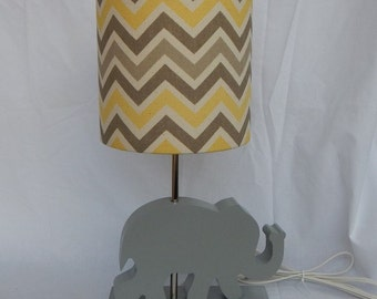 Handmade Small Yellow/Grey/Natural Chevron Drum Lamp Shade