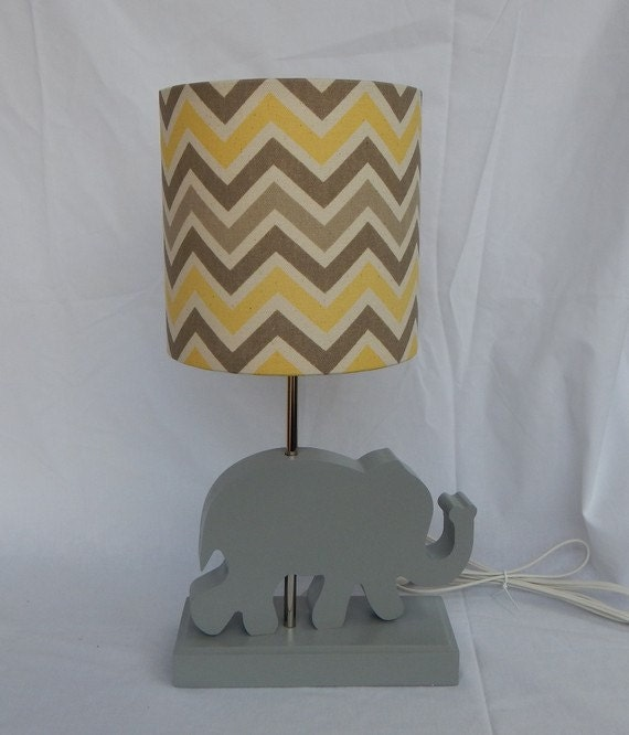 handmade small yellow grey natural chevron drum lamp shade. Black Bedroom Furniture Sets. Home Design Ideas