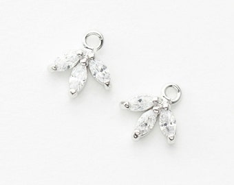 3075022 / Small Maple Leaf / Rhodium Plated Brass with Cubic Zirconia Pendant 8.3mm x 9mm / 0.3g / 2pcs