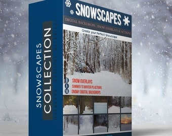Snowscapes - Amazing 16 Digital Backdrops,5  actions & 8 Snow Overlays
