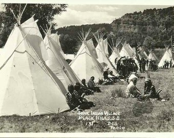 Postcard of Sioux Indian Village in Black Hills