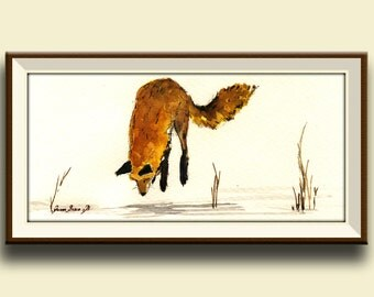 PRINT-Red Fox jumping snow print watercolor painting art wall original forest - Art Print by Juan Bosco