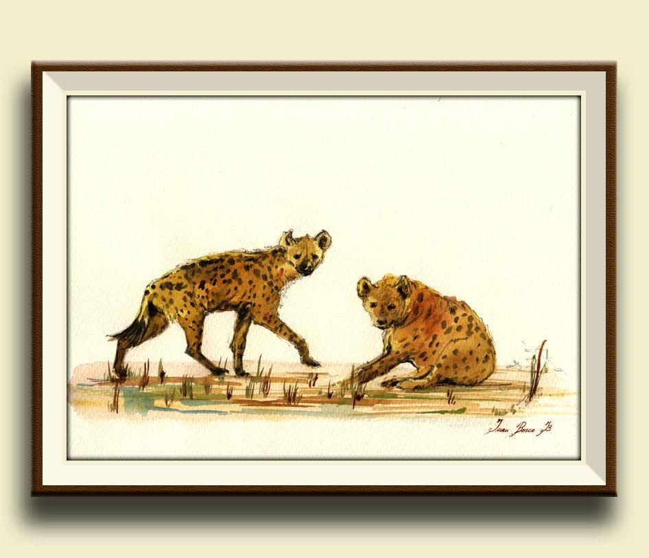 print hyena hyenas animal art wall decor africa safari. Black Bedroom Furniture Sets. Home Design Ideas