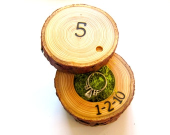 5th Anniversary Gift | Wood Anniversary Ring Box