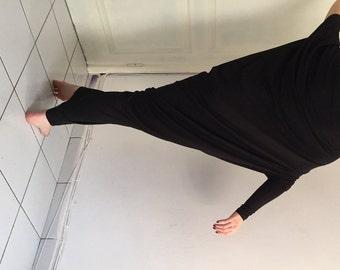 Black Asymmetric Maxi Dress / Loose Extra Long Sleeve Kaftan / Dubai Abaya Dress / Oversized Maxi Long Dress