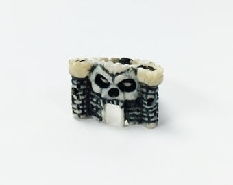 One of a kind Novelty Skull Castle Ring made of Bone