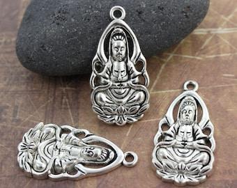 6 Kuan Yin Charms Buddha Charms Kuan Yin Pendants Antiqued Silver Tone 18 x 32 mm