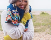 Knitted wrap- knitted in the UK with pure British lambswool using teal blue wool. Knit scarf.