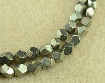 Natural golden Iron Pyrite faceted nugget beads 8-12mm,15 inches full strand