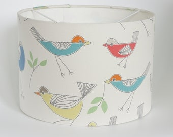 Lampshade in gorgeous John Lewis Stick birds fabric, handmade drum lampshade