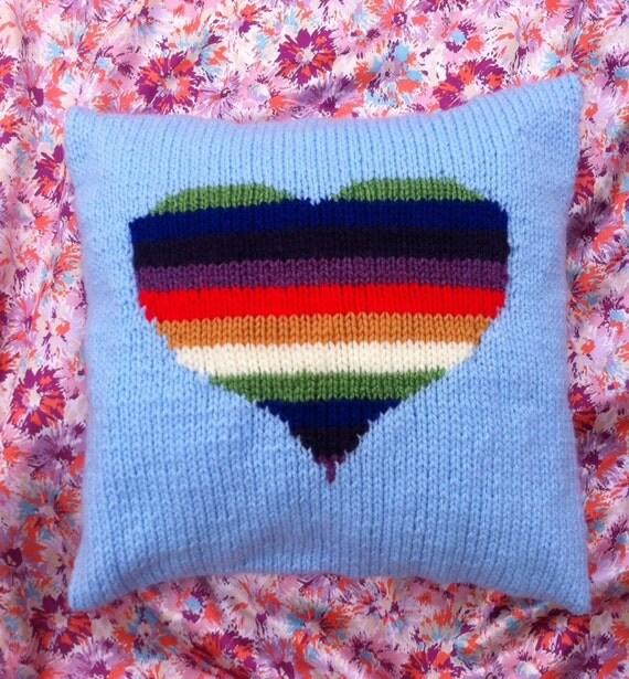 Rainbow Cushion Knitting Pattern : Rainbow heart chunky hand knitted cushion cover/pillow case.
