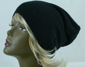 Black - Reclaimed - Recycled - Up Cycled - Slouchy - Beanie - Unisex - Sweater - Hat - SS-270