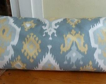 Cadet Blue, yellow Ikat Body Pillow Cover