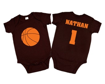 Personalized Basketball One Piece Bodysuit - Choose Your Colors. Baby Shower Gift or Birthday Present. (Toddler Shirt also available)