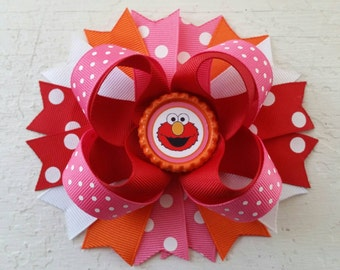 Elmo Inspired Hair Bow Sesame Street Elmo Birthday Hair Bow Elmo Hair Clip Elmo Bottle Cap Hair Bow