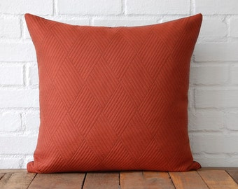 Orange Diamonds and Brown Suede Pillow