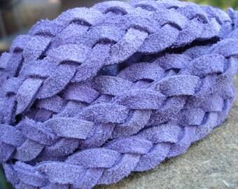 Purple flat braided suede, 5mm split suede in light purple