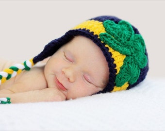 Notre Dame Inspired Crochet Shamrock Hat Size Newborn - 5 Years **MADE TO ORDER**