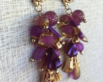 Vintage dangle earrings purple and gold extra long 11 cm