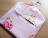 Blue & Pink Floral Laminated Cotton Peg Bag with Hanger, Ribbon Bow and 10 Pegs!