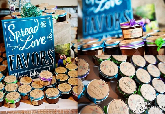SALE - Rustic/Barn/ Country Jam Wedding Favors - 100 (4oz) Mason jars w/ Jam, Personalized Label, Raffia Ribbon and FREE Gift