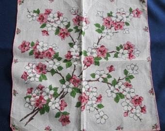 Vintage Floral Hankie Dogwood Print