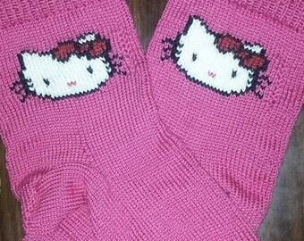 Kitty face hand-knit socks