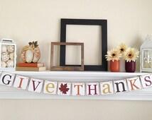 Give Thanks Banner, Thanksgiving Decor, Thanksgiving Banner, Thanksgiving Garland, Give Thanks, Brown Glitter Leaf, B040