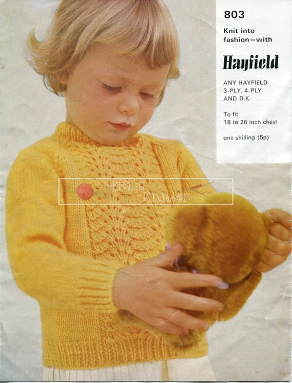 Baby Toddler Sweater 3ply 4ply DK 18-26in. Hayfield 803 Vintage Knitting Pattern PDF instant download