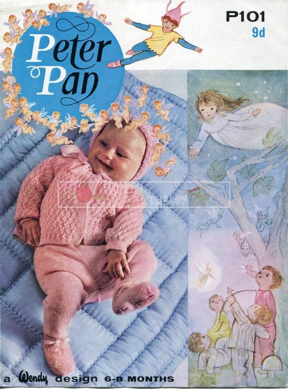 """Baby Pram Set 4ply 18-20"""" Peter Pan P101 Vintage Knitting Pattern PDF instant download"""