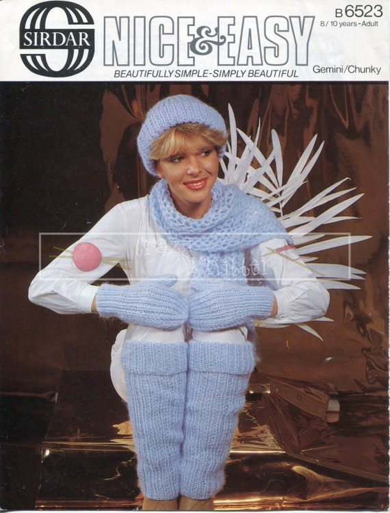 Cap Scarf Mittens and Leg Warmers Chunky 8/10 years Adult Sirdar 6523 Vintage Knitting Pattern PDF instant download