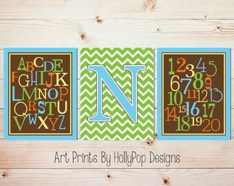 Nursery Art Prints Baby Boy Nursery Bright Colorful Modern Nursery Wall Art Alphabet Number Nursery Trio Toddler Boy Bedroom Decor #0943