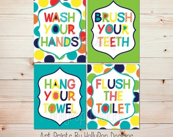 Kids Bathroom Wall Art Bright Colorful Bathroom Decor Wash Your Hands Brush Your Teeth Art Prints Childrens Bathroom Manners Lime Navy #1156