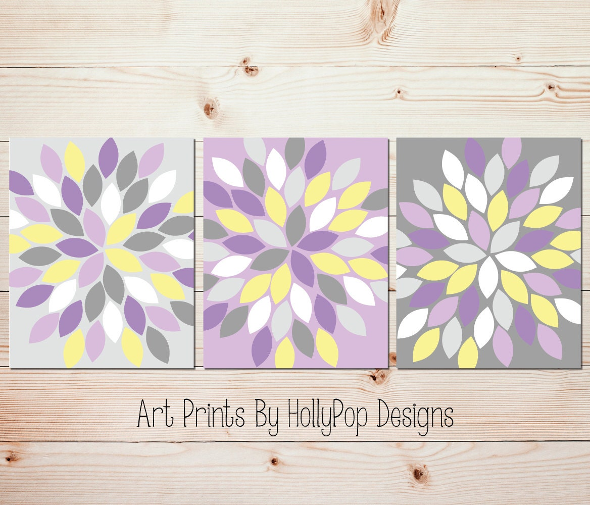 Bedroom Wall Art Grey: Purple Yellow Gray Wall Art Bedroom Wall Art Bathroom Wall Art