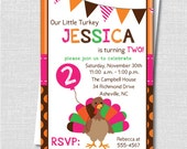 Girl Little Turkey Birthday Party Invitation - Thanksgiving Birthday Party - Digital Design or Printed Invitations - FREE SHIPPING