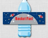 Printable Rocket Fuel Water Bottle Labels - Rocket Birthday Party - Digital Design - INSTANT DOWNLOAD