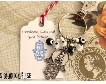 Sale - Yoga Keychain Swastika Buddha Black and White Keychain with evil eyes beads and Hamsa Bag dangle Spirit Helper