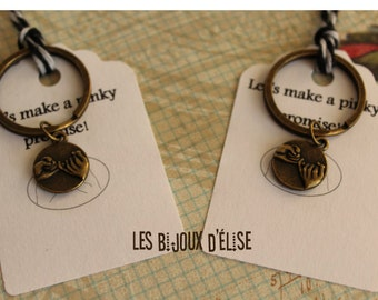 Set of 2 Pinky Promise Keychains Antique Bronze His and Hers Couple Keychains Friendship Keychains Valentine'S Keychains (PI07)