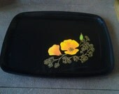 Collectible Kitchen Couroc Black Ebony Yellow/Orange Poppy Serving Tray Made in California